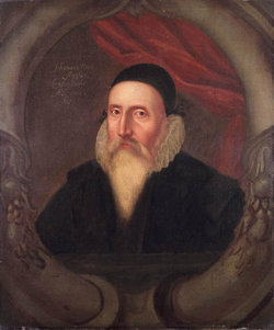 A sixteenth century portrait of John Dee, artist unknown. According to Charlotte Fell Smith, this portrait was painted when Dee was 67. It belonged to his grandson Rowland Dee and later to Elias Ashmole, who left it to Oxford University.